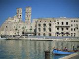 View Across Harbour to Duomo Vecchio, Molfetta, Puglia, Italy, Mediterranean