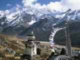 Prayer Flags on Kyanjin Gompa, Langtang, Himalayas, Nepal