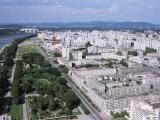Blocks of Flats Beside Taedong River, Park and Distant Mayday Stadium, Pyongyang, North Korea