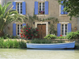Boat Moored Alongside House on the Bank of the Canal Du Midi, Aude, France