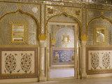The Beautiful Mirrorwork in the Sheesh Mahal, Samode Palace, Samode, Rajasthan State, India