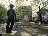 Chaplin Statue and Leicester Square, London, England, United Kingdom