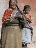 Tibetan Woman Spinning, Qinghai Province, China
