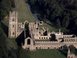Aerial View of Fountains Abbey, Unesco World Heritage Site, Yorkshire, England