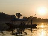 Sunset on the Narmada River, Maheshwar, Madhya Pradesh State, India