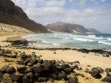 Deserted Beach at Praia Grande, Sao Vicente, Cape Verde Islands, Africa
