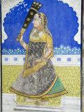Beautiful Frescoes on Walls of the Juna Mahal Fort, Dungarpur, Rajasthan State, India