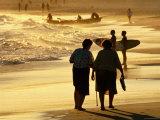 People on Bondi Beach at Sunset, Sydney, New South Wales, Australia
