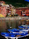 Harbour Boats on Ligurian Sea and Waterfront Buildings, Vernazza, Liguria, Italy