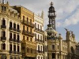 Modernista Facades along Plaza del Ayuntamiento, Central, Valencia, Spain