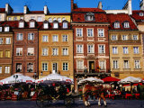 Summertime Open-Air Cafes on Old Market Square, Warsaw, Mazowieckie, Poland