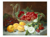 Still Life of Raspberries in a Glass Bowl