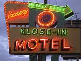 Klose-In Motel Sign Lights as Night Falls, Seattle, Washington, USA