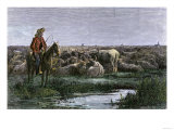 Cowboys Guarding the Herd at Night during a Texas to Kansas Cattle Drive 1800