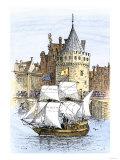 Hudson's Ship, Half-Moon, Leaving Amsterdam for the New World, c.1609