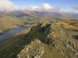 Llynllydow from Snowdon Horseshoe, Snowdonia National Park, Gwynedd, Wales, UK, Europe