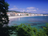 Beach and Town, Sanxenxo, Galicia, Spain, Europe