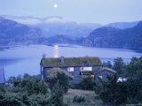 Moonrise Over Lake Refsvaten, South, Norway, Scandinavia, Europe