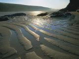 Ripples in Sandy Beach at Dawn, Porthcothan, Near Newquay, Cornwall, England, UK, Europe
