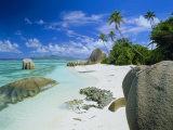 Granite Outcrops on Tropical Beach, Anse Source d'Argent, La Digue, Seychelles