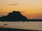 View to Mont Orgueil at Sunrise, Gorey, Jersey, Channel Islands, UK