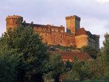 View of the Castle at Sunset, Castelnau-Bretenoux, Lot, Midi-Pyrenees, France, Europe