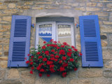 Blue Shuttered Windows and Red Flowers, Concarneau, Finistere, Brittany, France, Europe