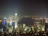 Hong Kong Skyline by Night from the Peak on Hong Kong Island, Hong Kong, China, Asia