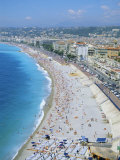 View Over the Beach and Nice, Cote d'Azur, Alpes-Maritimes, Provence, France, Europe