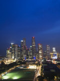 City Skyline at Dusk, Singapore, Southeast Asia, Asia