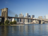 Manhattan Skyline, Brooklyn Bridge and the East River, New York City, New York, USA