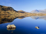 Reflection in Calm Loch, Black Mount, Rannoch Moor, Highlands, Scotland, UK