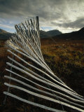 Snow Fences and Moorland, Wester Ross Near Dundonnell, Highlands, Scotland, UK