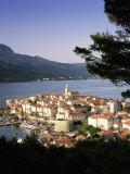 Elevated View of Korcula Town, Old Town of Korcula, Korcula Island, Dalmatian Coast, Croatia