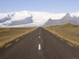 Empty Road Leading Towards Fjallsjokull Glacier Near Jokulsarlon, Iceland, Polar Regions