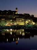 View Across Harbour to the Old Quarter of Le Suquet, at Night, Cannes, French Riviera, France