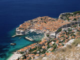 Elevated View of the Old Town, Unesco World Heritage Site, Dubrovnik, Dalmatian Coast, Croatia
