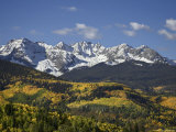 Sneffels Range with Fall Colors, Near Ouray, Colorado, United States of America, North America