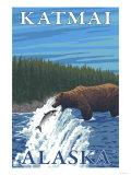 Bear Fishing in River, Katmai, Alaska