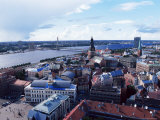 View of the Old Town and the Daugava River, from St. Peter Church, Riga, Latvia, Baltic States
