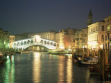 The Grand Canal and Rialto Bridge at Dusk, Venice, Unesco World Heritage Site, Veneto, Italy