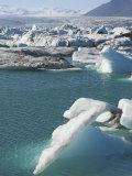 Icebergs in the Glacial Melt Water Lagoon at Jokulsarlon, Iceland, Polar Regions