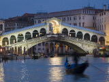 The Grand Canal, the Rialto Bridge and Gondolas at Night, Venice, Veneto, Italy