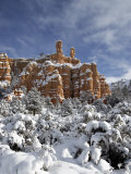 Snow-Covered Red Rock Formations, Dixie National Forest, Utah