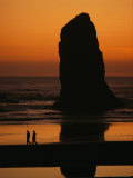 Cannon Beach and Silhouetted Sea Stack at Sunset, Oregon