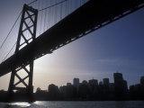Silhouette of the Skyline and Oakland Bay Bridge, California