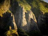 Sunlight Shines on Rock Formations on Nuku Hiva Island, Anaho Bay, French Polynesia