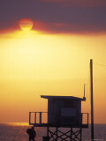Sunset During the Malibu Fires; Silhouette of Lifeguard Stand, California