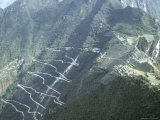 Winding Mountainous Road Leading to the Machu Picchu Inca Ruins