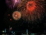 Fireworks Over Rainbow Bridge, Tokyo Bay, Japan
